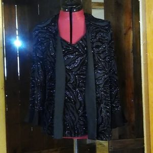R & M Richards by Karen Kwong Sparkly Top Size 12